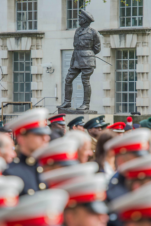 The statue of Field Marshal Alan Brooke, who also served in the First World War, looks on. A commemoration in London to mark the Centenary of the Gallipoli Campaign 25 April 2015 at the Cenotaph on Whitehall, Westminster. Descendants of those who fought in the campaign also march past, led by military personnel, as part of the ceremony. This is an addition to the usual annual ceremony organized byvThe High Commissions of Australia and New Zealand.Guy Bell, 07771 786236, guy@gbphotos.com