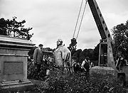 Statue of Lord Carlisle destroyed at Phoenix Park.25/07/1958..The bronze statue of Geo. Wm. Frederick Howard, 7th. Earl of Carlisle (1802-64), in the People's-garden, Phoenix-park, - by John Henry Foley, - was erected in 1869..He was L.L., 1855-58 - 1859-64. (Cf. Carlisle-str.)..George William Frederick Howard, 7th Earl of Carlisle KG, PC (18 April 1802 - 5 December 1864), styled Viscount Morpeth from 1825 to 1848, was a British politician, statesman and orator..Carlisle was born in Westminster, London, the eldest son of George Howard, 6th Earl of Carlisle by his wife Lady Georgiana Cavendish, eldest daughter of William Cavendish, 5th Duke of Devonshire. Lord Lanerton and Charles Howard were his younger brothers. He was educated at Eton and Christ Church, Oxford, where he earned a reputation as a scholar and writer of graceful verse, obtaining in 1821 both the chancellor's and the Newdigate prizes for a Latin poem, Paestum,[1] and an English one. He maintained his interest in poetry throughout his life, exchanging sonnets with William Wordsworth. In 1826 he accompanied his maternal grandfather, the Duke of Devonshire, to the Russian Empire, to attend the coronation of Tsar Nicholas I, and became a great favourite in society at St Petersburg..At the general election in 1826 Carlisle was returned to parliament as member for the family borough of Morpeth, a seat he held until 1830, and then represented Yorkshire until 1832 and the West Riding of Yorkshire from 1832 to 1841 and from 1846 to 1848. The latter year he succeeded his father in the earldom and entered the House of Lords..Carlisle served under Lord Melbourne as Chief Secretary for Ireland between 1835 and 1841, under Lord John Russell as First Commissioner of Woods and Forests from 1846 to 1850 and as Chancellor of the Duchy of Lancaster from 1850 to 1852 and under Lord Palmerston as Lord Lieutenant of Ireland from 1855 to 1858 and again from 1859 to 1864. In 1835 he was appointed to the Privy Councils of th