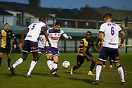 Marine midfieler James Barrigan (11)  clears the ball during the The FA Cup match between Marine and Havant & Waterlooville FC at Marine Travel Arena, Great Crosby, United Kingdom on 29 November 2020.