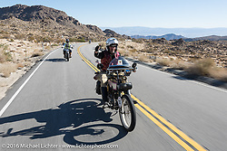 Scott Byrd of Arkansas riding his 1916 Harley-Davidson on the Palms to Pines Scenic Byway on the last day of the Motorcycle Cannonball Race of the Century. Stage-15 ride from Palm Desert, CA to Carlsbad, CA. USA. Sunday September 25, 2016. Photography ©2016 Michael Lichter.