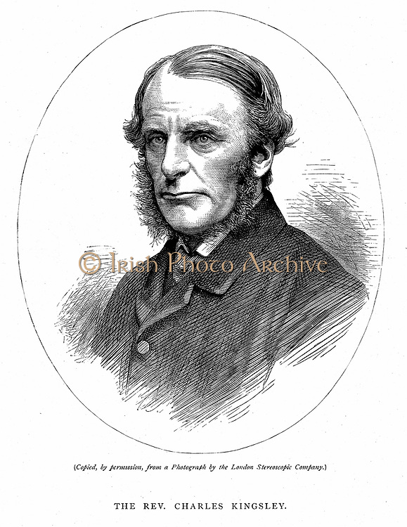 Charles Kingsley (1819-1875) British writer and cleric. Christian Socialist: Muscular Christianity. Believed in possibility of reconciling science and religion. Wood engraving c1880.