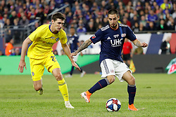 May 15, 2019 - Foxborough, MA, U.S. - FOXBOROUGH, MA - MAY 15: New England Revolution midfielder Diego Fagundez (14) shields the ball from Chelsea FC defender Andreas Christensen (27) during the Final Whistle on Hate match between the New England Revolution and Chelsea Football Club on May 15, 2019, at Gillette Stadium in Foxborough, Massachusetts. (Photo by Fred Kfoury III/Icon Sportswire) (Credit Image: © Fred Kfoury Iii/Icon SMI via ZUMA Press)
