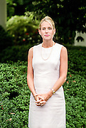 Kristin Armstrong, wife of Tour de France champion Lance Armstrong during an event in the Rose Garden of the White House August 10, 1999. Lance Armstrong presented the President with a replica bicycle he used in the race.
