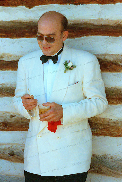 """Hunter S. Thompson, author of """"Fear and Loathing in Las Vegas"""".  Photographed at his son's Juan wedding in Gold Hill, Colorado."""