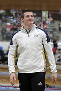 Matt Ludwig is introduced before the start of the elite men's competition during the National Pole Vault Summit, Friday, Jan. 17, 2020, in Reno, Nev.