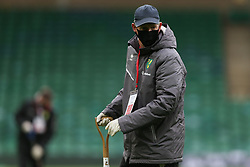 A member of the groundstaff wearing a mask - Mandatory by-line: Arron Gent/JMP - 24/10/2020 - FOOTBALL - Carrow Road - Norwich, England - Norwich City v Wycombe Wanderers - Sky Bet Championship