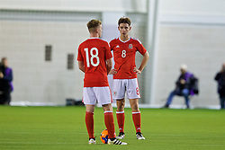 EDINBURGH, SCOTLAND - Tuesday, November 1, 2016: Wales' Isaak Davies and captain Terry Taylor look dejected as Scotland score the second goal during the Under-16 2016 Victory Shield match at ORIAM. (Pic by David Rawcliffe/Propaganda)