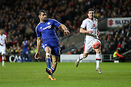 Diego Costa of Chelsea attempting to chip the goal keeper. The Emirates FA cup, 4th round match, MK Dons v Chelsea at the Stadium MK in Milton Keynes on Sunday 31st January 2016.<br /> pic by John Patrick Fletcher, Andrew Orchard sports photography.