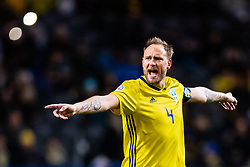 March 23, 2019 - Stockholm, SWEDEN - 190323  Andreas Granqvist of Sweden reacts during the UEFA Euro Qualifier football match between Sweden and Romania on March 23, 2019 in Stockholm. (Credit Image: © Mathilda Ahlberg/Bildbyran via ZUMA Press)
