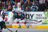 KELOWNA, CANADA - FEBRUARY 10: Kyle Topping #24 of the Kelowna Rockets stops at the boards against the Vancouver Giants on February 10, 2017 at Prospera Place in Kelowna, British Columbia, Canada.  (Photo by Marissa Baecker/Shoot the Breeze)  *** Local Caption ***