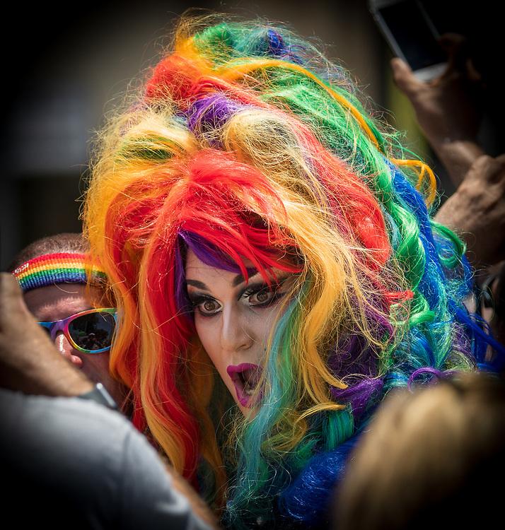 Colorful head shot at the gay pride parade in Tel Aviv