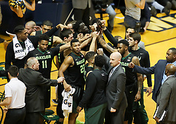 Jan 9, 2018; Morgantown, WV, USA; The Baylor Bears huddle during the second half against the West Virginia Mountaineers at WVU Coliseum. Mandatory Credit: Ben Queen-USA TODAY Sports