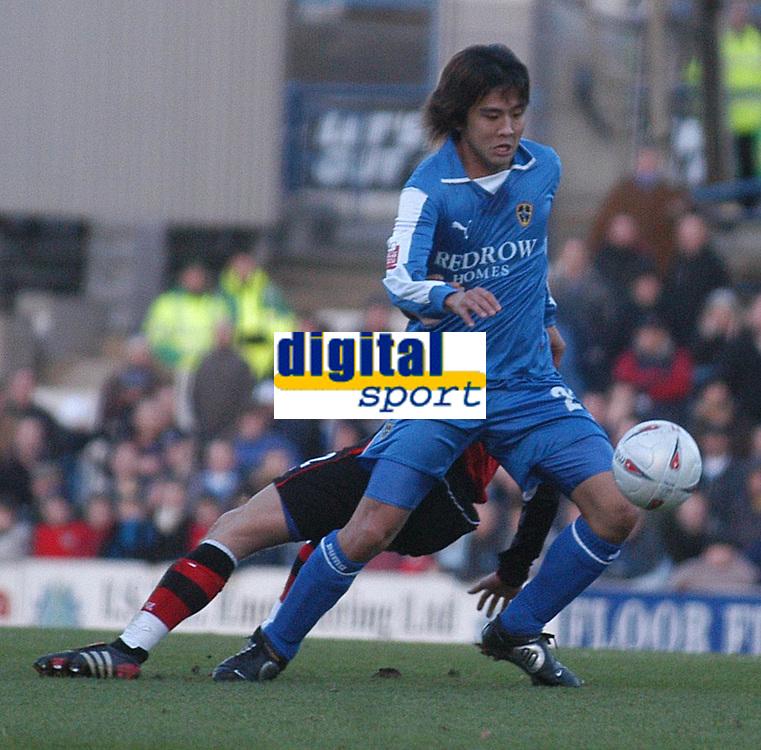 Fotball<br /> FA Cup tredje runde<br /> 08.01.2005<br /> Foto: SBI/Digitalsport<br /> NORWAY ONLY<br /> <br /> Cardiff City v Blackburn Rovers<br /> <br /> Junichi Inamoto on the ball for Cardiff.