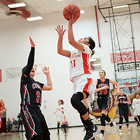 Pine Hill Warriors Cheyanne Harrison (21) tries for a layup against Cliff Cowgirls defender Kylene Killough (33) during the NMAA State Tournament. The Cowgirls defeated the Warriors 51-40 at Bernalillo High School in Bernalillo Wednesday morning.