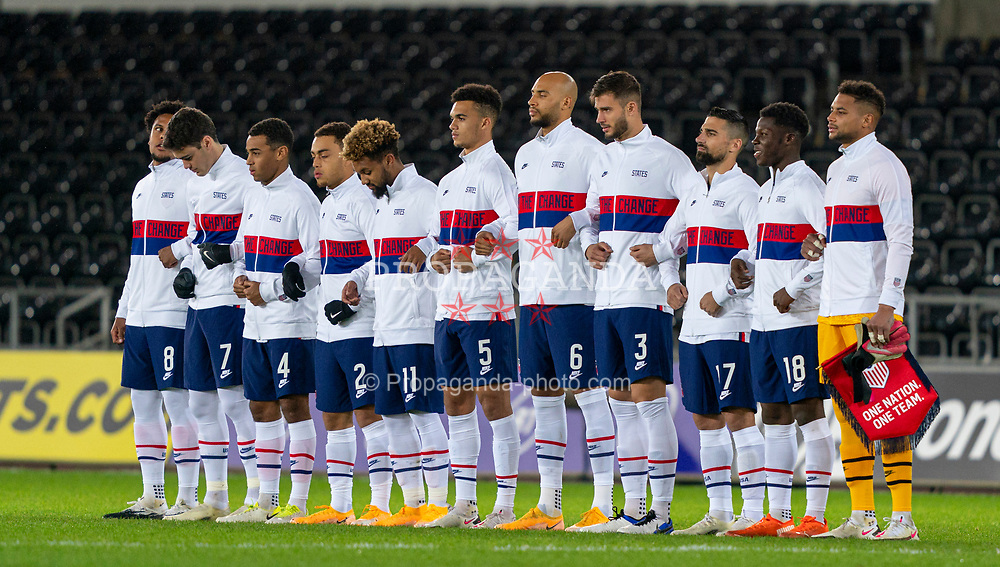 SWANSEA, WALES - Thursday, November 12, 2020: The USA team line-up during an International Friendly match between Wales and the USA at the Liberty Stadium. (Pic by David Rawcliffe/Propaganda)