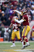 Washington Redskins quarterback ` (8) leaps and throws a fourth quarter pass during the 2017 NFL week 10 regular season football game against the Minnesota Vikings, Sunday, Nov. 12, 2017 in Landover, Md. The Vikings won the game 38-30. (©Paul Anthony Spinelli)