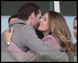 March 13, 2019 - Cheltenham, United Kingdom - Image licensed to i-Images Picture Agency. 13/03/2019. Cheltenham , United Kingdom. Tennis player Andy Murray and his wife Kim Sears celebrate after watching the main race during Ladies Day on the second day of the Cheltenham Festival  (Credit Image: © Stephen Lock/i-Images via ZUMA Press)
