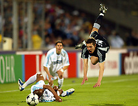 Photo: Scott Heavey, Digitalsport<br /> NORWAY ONLY<br /> <br /> Olimpique Marseille v Newcastle United. UEFA Cup Semi Final, Second Leg. 06/05/2004.<br /> Darren Ambrose is thrown in the air by Manuel Dos Santos