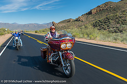 Diva Amy on her Helping with Horsepower Ride during Arizona Bike Week 2014. USA. April 3, 2014.  Photography ©2014 Michael Lichter.