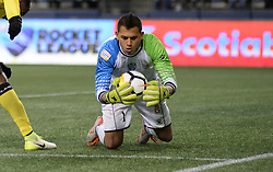 March 1, 2018 - Seattle, Washington, U.S - Soccer 2018: Santa Tecla goalie JOEL ALMEIDA (1) makes a save as Santa Tecla FC visits the Seattle Sounders for a CONCACAF match at Century Link Field in Seattle, WA. Seattle won the match with 4 second half goals, 4-0. (Credit Image: © Jeff Halstead via ZUMA Wire)