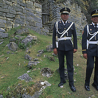 Tourist police keep watch at ancient Chachapoyan fort at Cuelap.