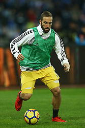December 1, 2017 - Naples, Italy - Gonzalo Higuain of Juventus during warm up before the start of the  Serie A match between SSC Napoli and Juventus at Stadio San Paolo on December 1, 2017 in Naples, Italy. (Credit Image: © Matteo Ciambelli/NurPhoto via ZUMA Press)