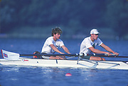 Barcelona, SPAIN. Gold Medalist, GBR M2+, Bow Jonny SEARLE and Greg SEARLE with cox, Gary HERBERT. Training,1992 Olympic Rowing Regatta Lake Banyoles, Catalonia [Mandatory Credit Peter Spurrier/ Intersport Images] Last time Men's coxed pair raced at the Olympics,