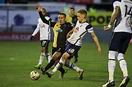 Tottenham Hotspur midfielder Harvey White (48) tackles Marine midfielder Josh Hmami (8) during the The FA Cup match between Marine and Tottenham Hotspur at Marine Travel Arena, Great Crosby, United Kingdom on 10 January 2021.
