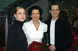 Left to right, dancer AGNES OAKES, DAME BERYL GREY and THOMAS EDUR at The Critic's Circle National Dance Awards 2005 held at The Royal Opera House, Covent Garden on 19th January 2006.<br />