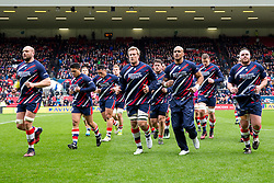 Jordan Crane (c) of Bristol Rugby leads his side in from the warmup - Rogan Thomson/JMP - 26/02/2017 - RUGBY UNION - Ashton Gate Stadium - Bristol, England - Bristol Rugby v Bath - Aviva Premiership.