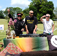 Barry Ashworth, Bez and Leeroy Thornhillat the launch party for  the Mucky Weekender Festival.,taking place 10-11 September at the Vicarage Farm, Winchester.photo by Dawn Fletcher Park