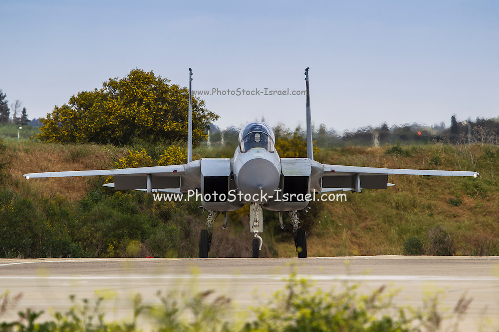 Front view of an Israeli Air force (IAF) Fighter jet F-15 (BAZ) on the ground