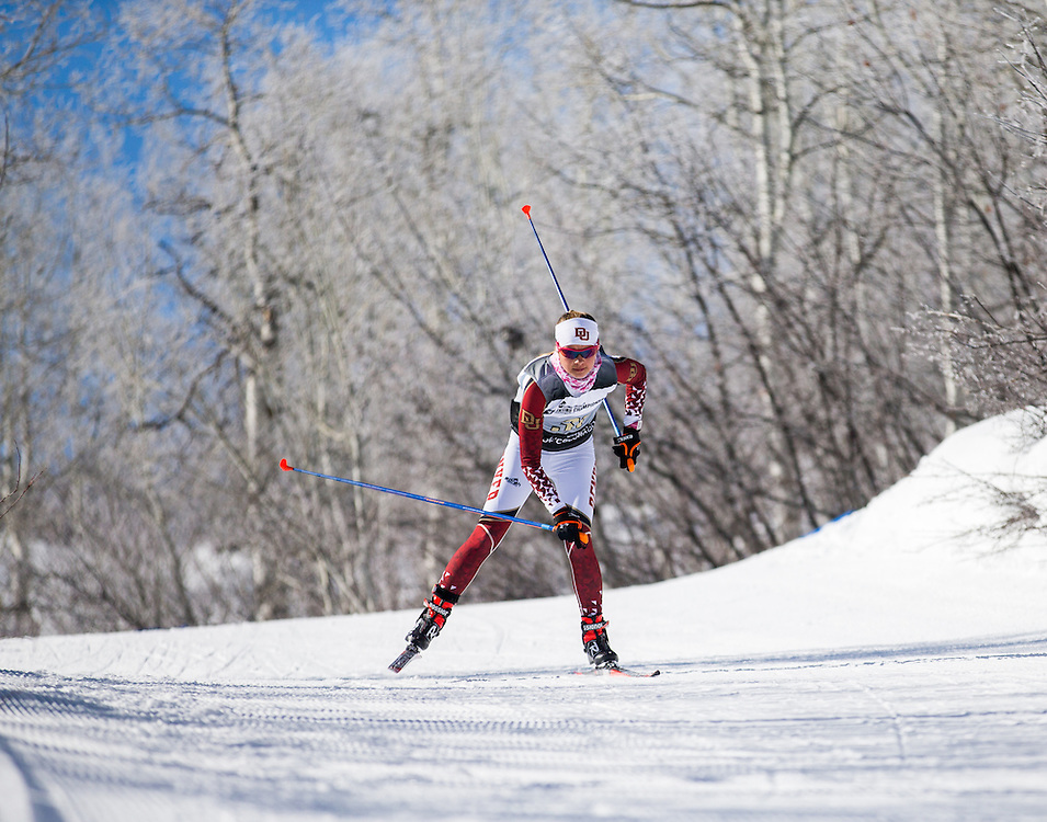 Aja Starkey of the University of Denver, during the NCAA Skiing Championships Freestyle Interval Start on Thursday March 10, 2016 at Steamboat, CO. (Dustin Satloff)