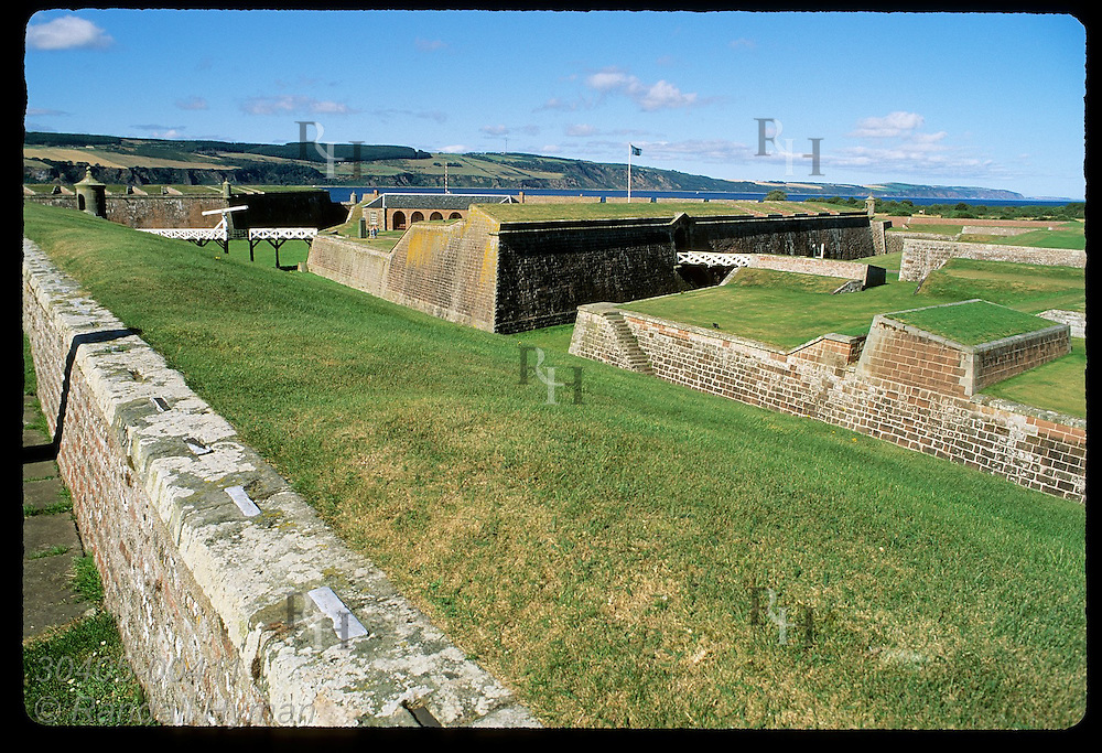 Elaborate system of moats & ramparts protect Ft George, once Europe's best, built after 1746 Jacobite defeat; Ardersier, Scotland.