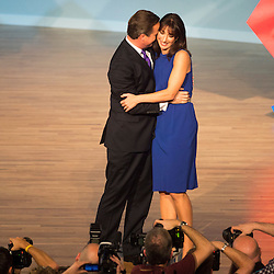 Mcc0042326.DT News.Conservative Party Conference in Birmingham Pic Shows Prime Minister David Cameron with his wife Samantha after making his key note speech
