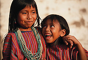 The Calabay Sicay family sisters at home in San Antonio Palopo Village on Lake Aititlan, Guatemala. Smiles show tooth decay.