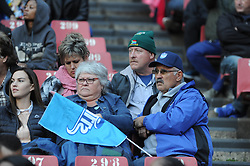 14-07-18 Johannesburg. Emirates Airlines Park. Emirates Lions vs Vodacom Blue Bulls.<br /> 2nd half. Two Bulls supporters<br /> Picture: Karen Sandison/African News Agency (ANA)