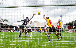 Hearts Callum Paterson scoring their first goal past Partick Thistle's keeper Tomas Cerny. half time - Partick Thistle 0 v 1 Hearts, Ladbrokes Premiership match played 27/89/2016 at Firhill.