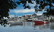 Boats anchored in the Nantucket Harbor.