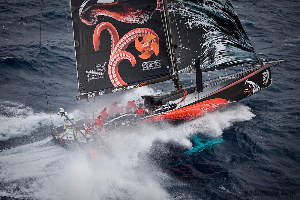 Puma Ocean Racing skippered by Ken Read at the start of Leg 1 of the Volvo Ocean Race 2011-12 that will sail 6,500 miles to Cape Town as part 39,000 miles around the world from Spain to eight ports before finishing in Galway in July 2012..