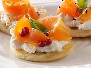 smoked salmon and cream cheese blinis