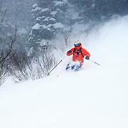 Tigger Knecht skiing blower storm powder at Jackson Hole Mountain Resort.