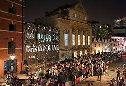© Licensed to London News Pictures.29/05/2016. Bristol, UK.  The history of the Bristol Old Vic in King Street is projected onto an adjacent building as the theatre celebrates its 250th birthday on 30 May 2016 as the oldest continuously working theatre in the English speaking world. Following a recent £12.5 million redevelopment project, the Bristol Old Vic is now one of the most modern and comfortable theatres with state of the art rehearsal rooms, a dramatically extended forestage and precision-engineered sightlines giving audiences an even more intimate theatrical experience. Photo credit : Simon Chapman/LNP