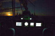 North Atlantic Ocean, October 2014.<br /> Digital compass and the last rays of Sun of the day, on board the Sea Dragon. © Chiara Marina Grioni