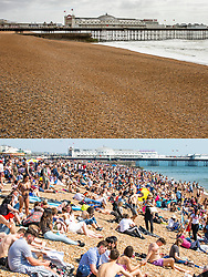 © Licensed to London News Pictures. Comparison showing the cold and wet weather conditions today 27/04/2019 (top) and a packed beachfront in warm weather a week ago on 20/04/2019 (Bottom) . Photo credit: Hugo Michiels/LNP