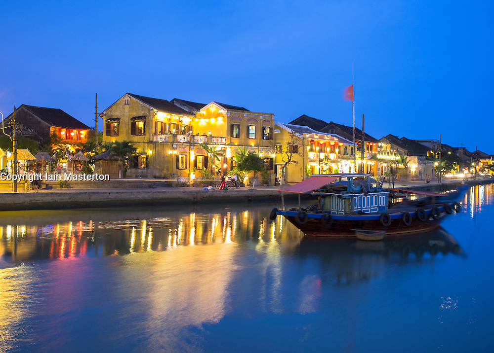 Evening view of historic old town of Hoian a UNESCO World Heritage site in Vietnam