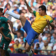 Leandro Damiao, Brazil, in action during the Brazil V Mexico Gold Medal Men's Football match at Wembley Stadium during the London 2012 Olympic games. London, UK. 11th August 2012. Photo Tim Clayton
