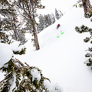 Hadley Hammer skiiing massive winter storm powder at Jackson Hole Mountain Resort.