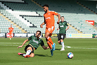 Blackpool's Grant Ward is tackled by Plymouth Argyle's Will Aimson<br /> <br /> Photographer Ian Cook/CameraSport<br /> <br /> The EFL Sky Bet League One - Plymouth Argyle v Blackpool - Saturday September 12th 2020 - Home Park - Plymouth<br /> <br /> World Copyright © 2020 CameraSport. All rights reserved. 43 Linden Ave. Countesthorpe. Leicester. England. LE8 5PG - Tel: +44 (0) 116 277 4147 - admin@camerasport.com - www.camerasport.com