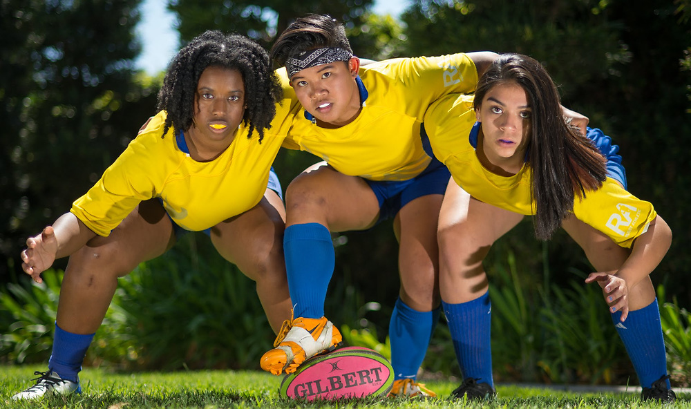4/26/18 --- Portrait of Symone Muepo, Faith Flores and Roxanne Sierra, members of the University of California - Irvine Women's Rugby team, Huntington Beach, CA<br /> <br /> Photo by Michel Lim/ Sports Shooter Academy